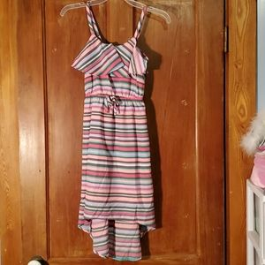 Route 66 Teal, Pink & Brown Striped Dress Size 7/8